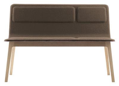 Mobilier - Bancs - Banquette Laia / L 116 cm - Feutre de laine - Alki - Beige foncé / Piètement chêne naturel - Chêne massif, Feutre de laine, Multiplis de hêtre