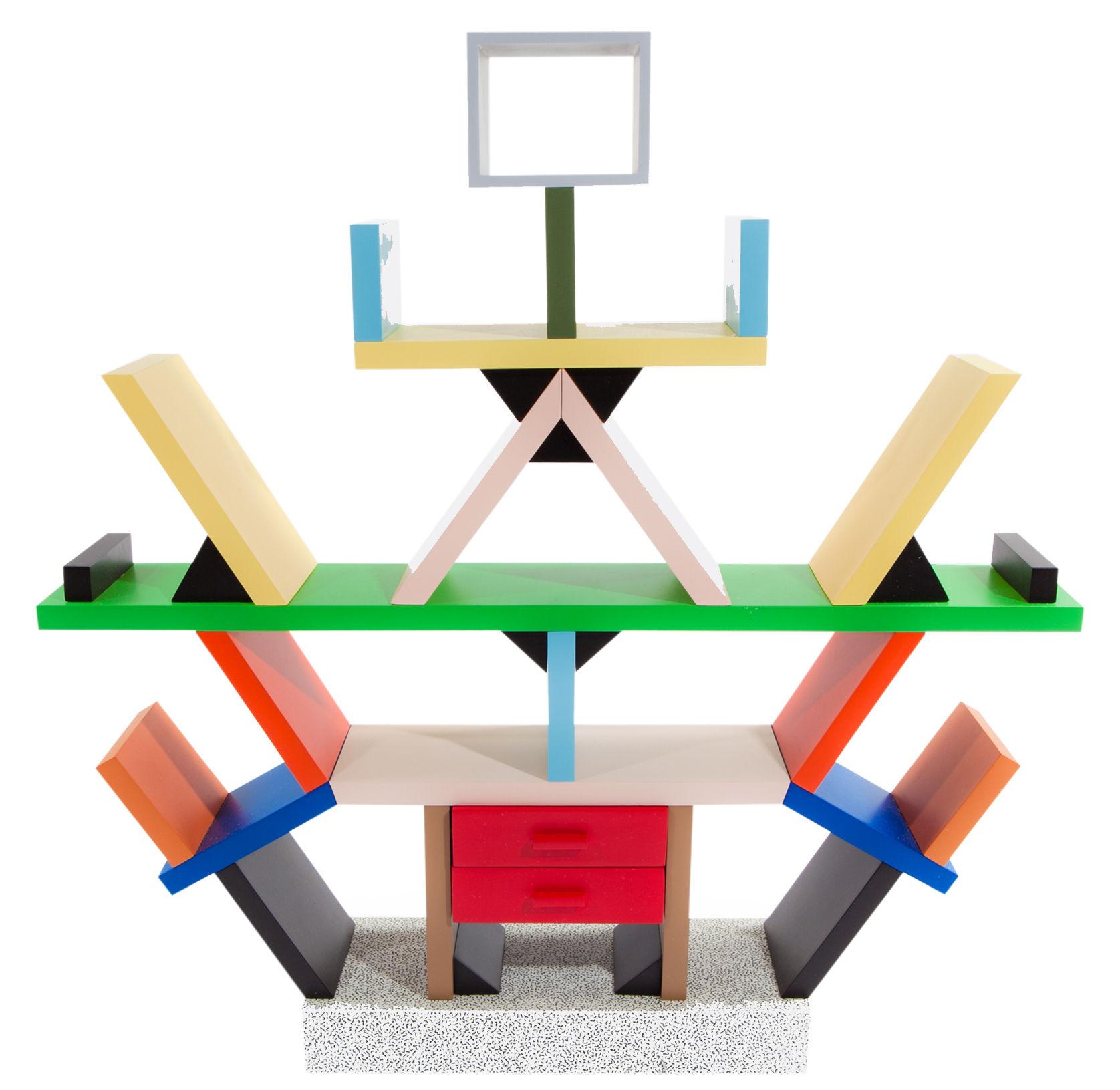 Möbel - Regale und Bücherregale - Carlton Bücherregal von Ettore Sottsass / Raumtrenner / 1981 - Memphis Milano - Mehrfarbig - lackiertes Holz, Laminé plastique
