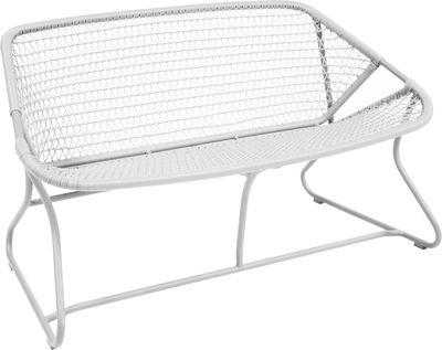 Möbel - Bänke - Sixties Sofa 2 Sitze - Fermob - Gestell weiß / Sitzfläche weiß - Aluminium, Plastikmaterial