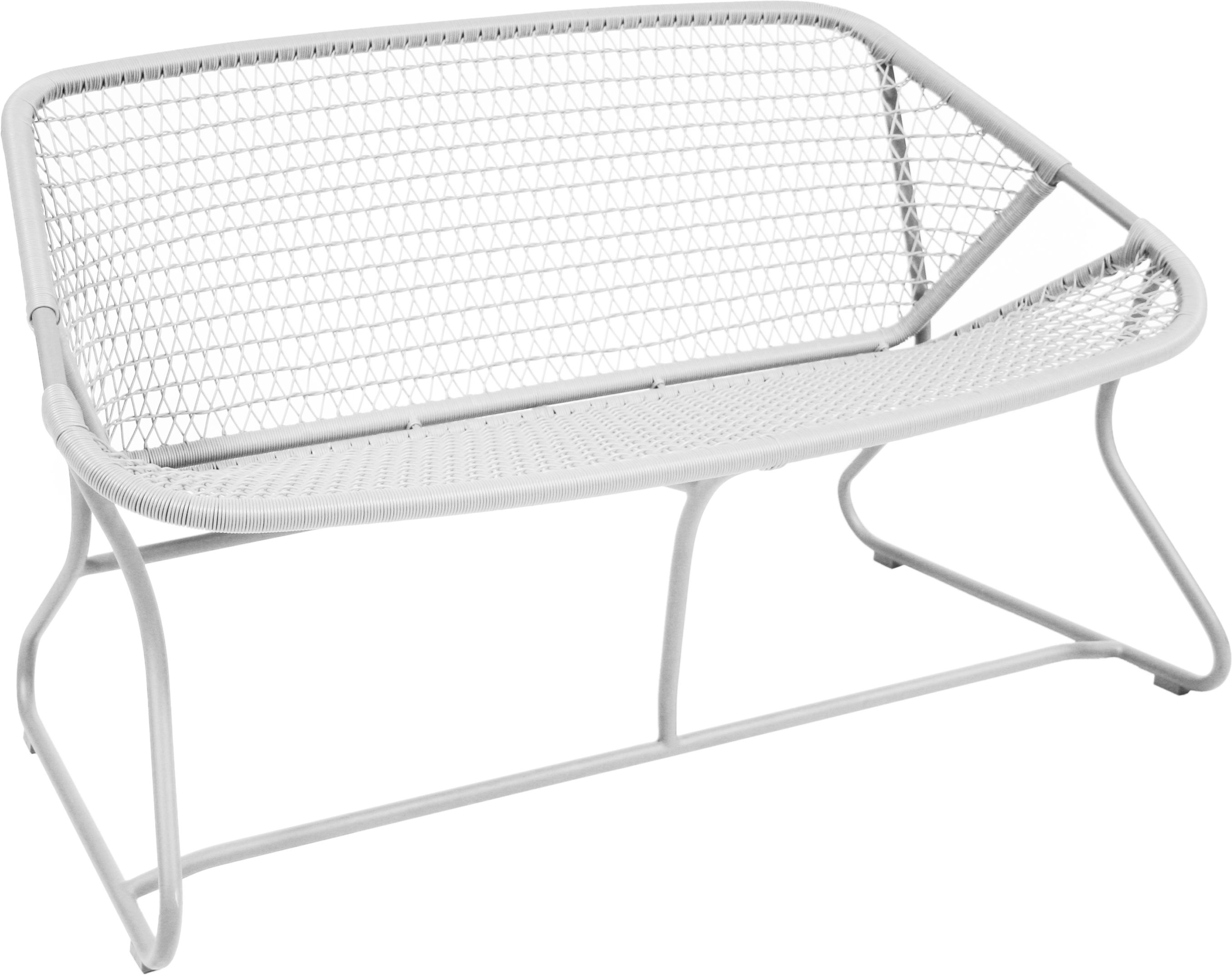 Furniture - Benches - Sixties 2 seater sofa by Fermob - White - Aluminium, Plastic material
