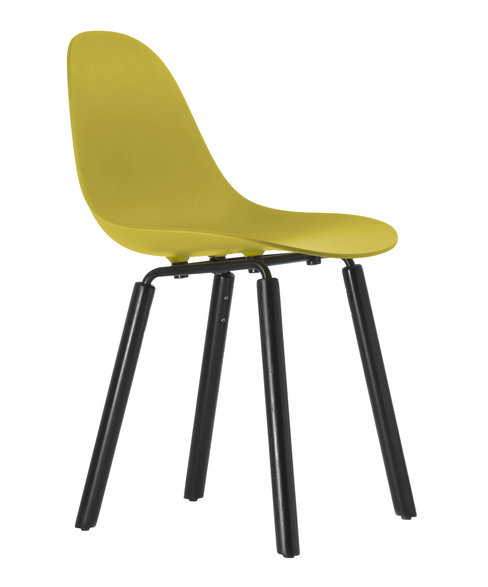 Furniture - Chairs - TA Chair - Wood legs by Toou - Yellow / Black legs - Lacquered metal, Painted oak, Polypropylene