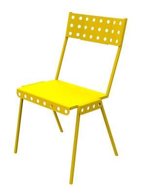 Mobilier - Chaises, fauteuils de salle à manger - Chaise empilable Bistrot Outdoor / Métal - Meccano Home - Jaune - Acier verni
