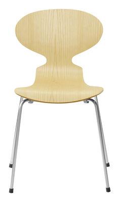 Mobilier - Chaises, fauteuils de salle à manger - Chaise empilable Fourmi / Bois naturel - Fritz Hansen - Frêne - Acier, Contreplaqué de frêne verni