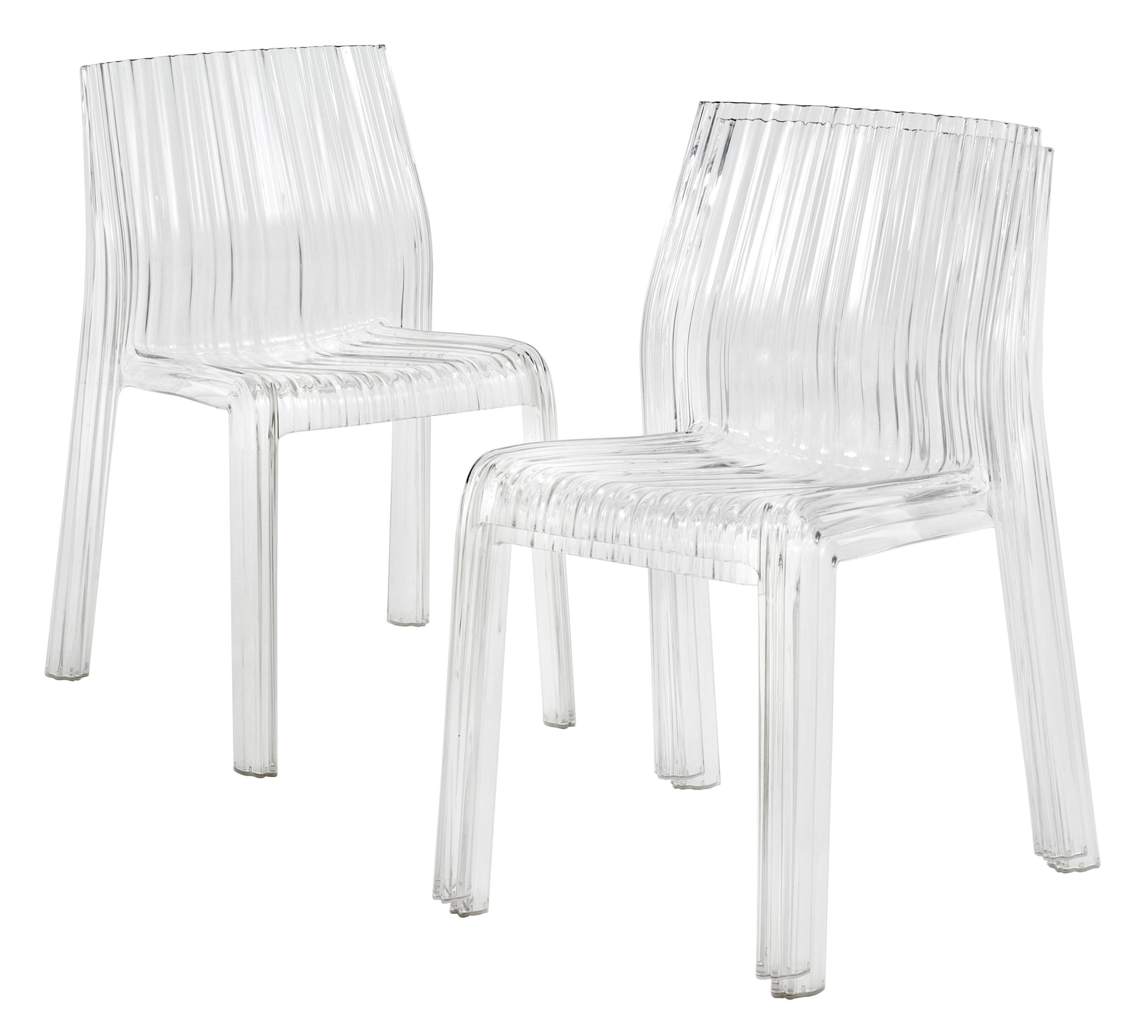 chaise empilable frilly kartell cristal l 47 x h 78 made in design. Black Bedroom Furniture Sets. Home Design Ideas