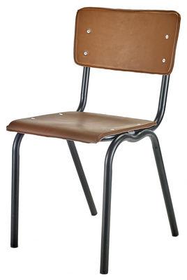 Mobilier - Chaises, fauteuils de salle à manger - Chaise Vinyl-Vinyl / Assise similicuir - Serax - Brun / Structure noire - Acier laqué, Vinyle