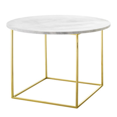 Furniture - Coffee Tables - Eva Coffee table - / Marble - Ø 60 cm by Bloomingville - White marble / Gold - Iron with a gold finish, Marble
