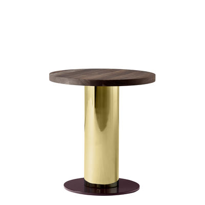 Furniture - Coffee Tables - Mezcla JH19 Coffee table - / Walnut - Ø 42 x H 45 cm by &tradition - Walnut / Gold / Burgundy - Solid walnut, Steel