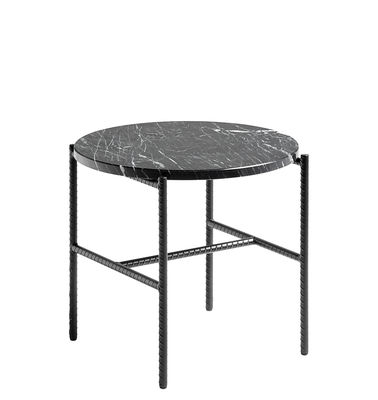 Furniture - Coffee Tables - Rebar Coffee table - / Marble - Ø 45 by Hay - Black / Marble top - Lacquered steel, Marble