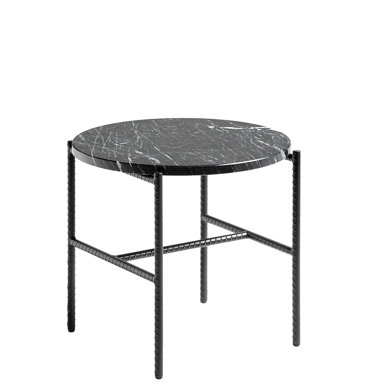 Furniture - Coffee Tables - Rebar Coffee table - / Marbre - Ø 45 by Hay - Noir / Plateau marbré - Lacquered steel, Marble