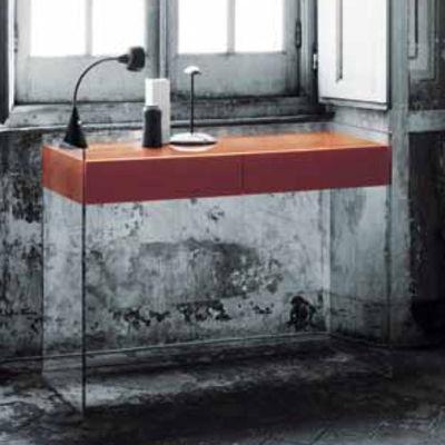 Mobilier - Consoles - Console Float / 2 tiroirs - L 122 x H 90 cm - Glas Italia - Orange - Cristal, Wengé