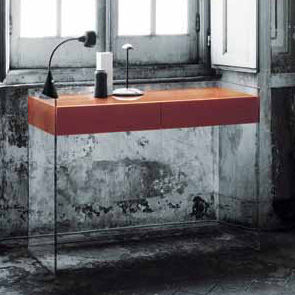 Furniture - Console Tables - Float Console - 2 drawers - H 90 cm by Glas Italia - Orange - Cristal, Wenge