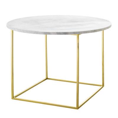 Möbel - Couchtische - Eva Couchtisch / Marmor - Ø 60 cm - Bloomingville - Marmor weiß / goldfarben - Eisen mit goldenem Finish, Marmor