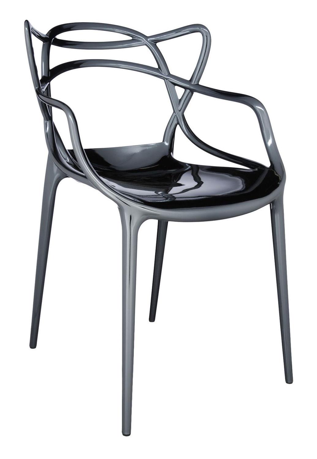 Mobilier - Chaises, fauteuils de salle à manger - Fauteuil empilable Masters / Métallisé - Kartell - Titane - Polypropylène métallisé