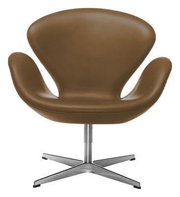 Mobilier - Fauteuils - Fauteuil pivotant Swan chair / Cuir - Fritz Hansen - Marron / Chromé - Aluminium, Cuir, Mousse, Résine