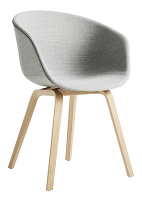 Möbel - Stühle  - About a chair AAC23 Gepolsterter Sessel / Ganz mit Stoff & matt lackierter Eiche - Hay - Hellgrau (Remix 123) / Eiche matt lackiert -  Contreplaqué de chêne verni mat, Polypropylen, Schaumstoff, Stoff Remix