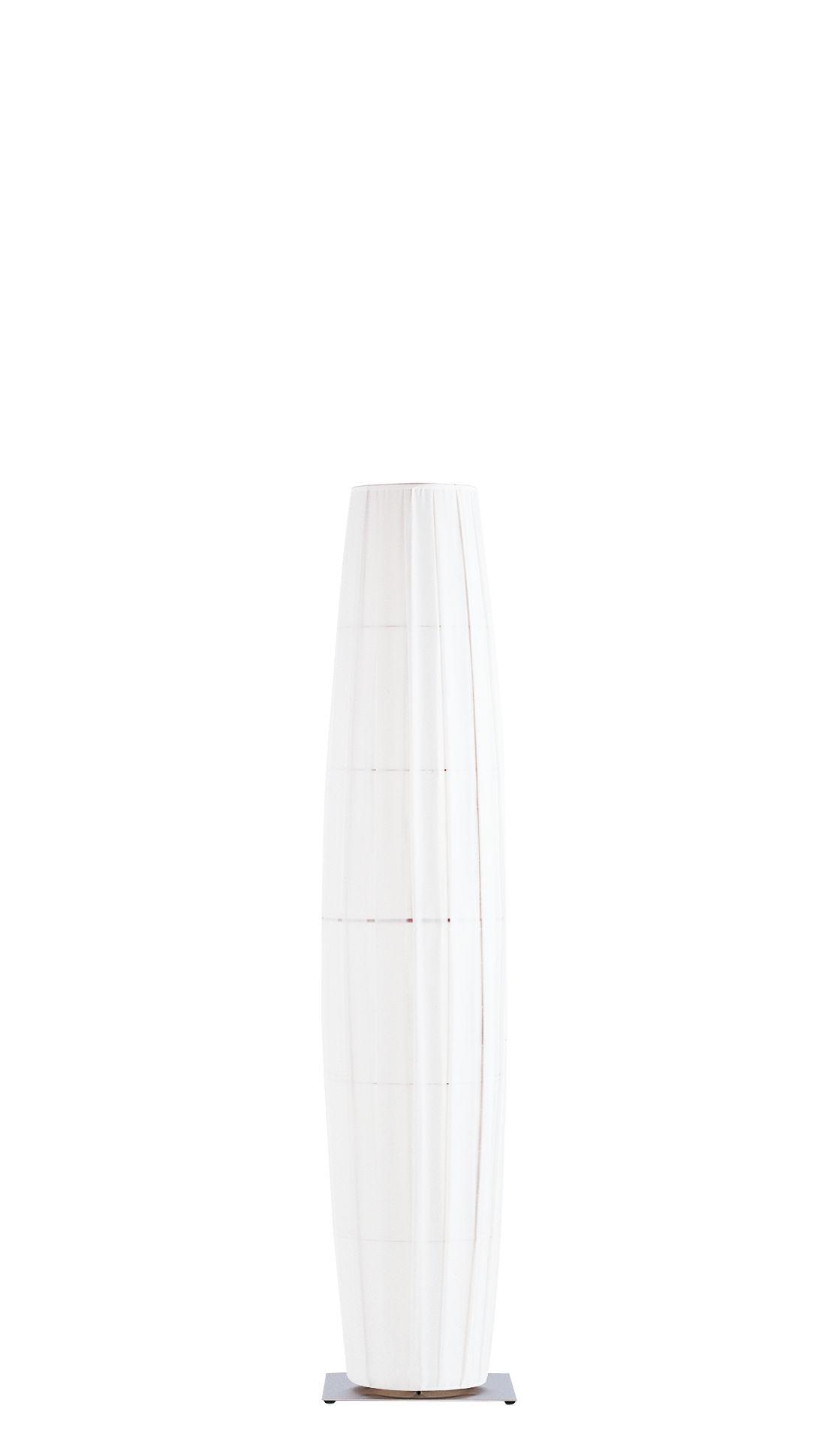 Illuminazione - Lampade da terra - Lampada a stelo Colonne - H 190 cm di Dix Heures Dix - Bianco - Base in acciaio inox spazzolato - Acciaio satinato, Tessuto poliestere