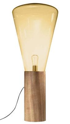 Luminaire - Lampadaires - Lampadaire Muffin / H 101 cm - Brokis - Verre ambre - Chêne, Verre soufflé