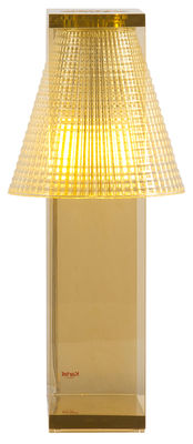 Lampe de table Light-Air / Abat-jour plastique sculpté - Kartell orange/marron en matière plastique