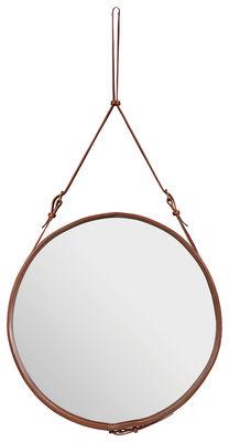 Mobilier - Miroirs - Miroir mural Adnet / Ø 70 cm - Réédition 50' - Gubi - Marron - Cuir