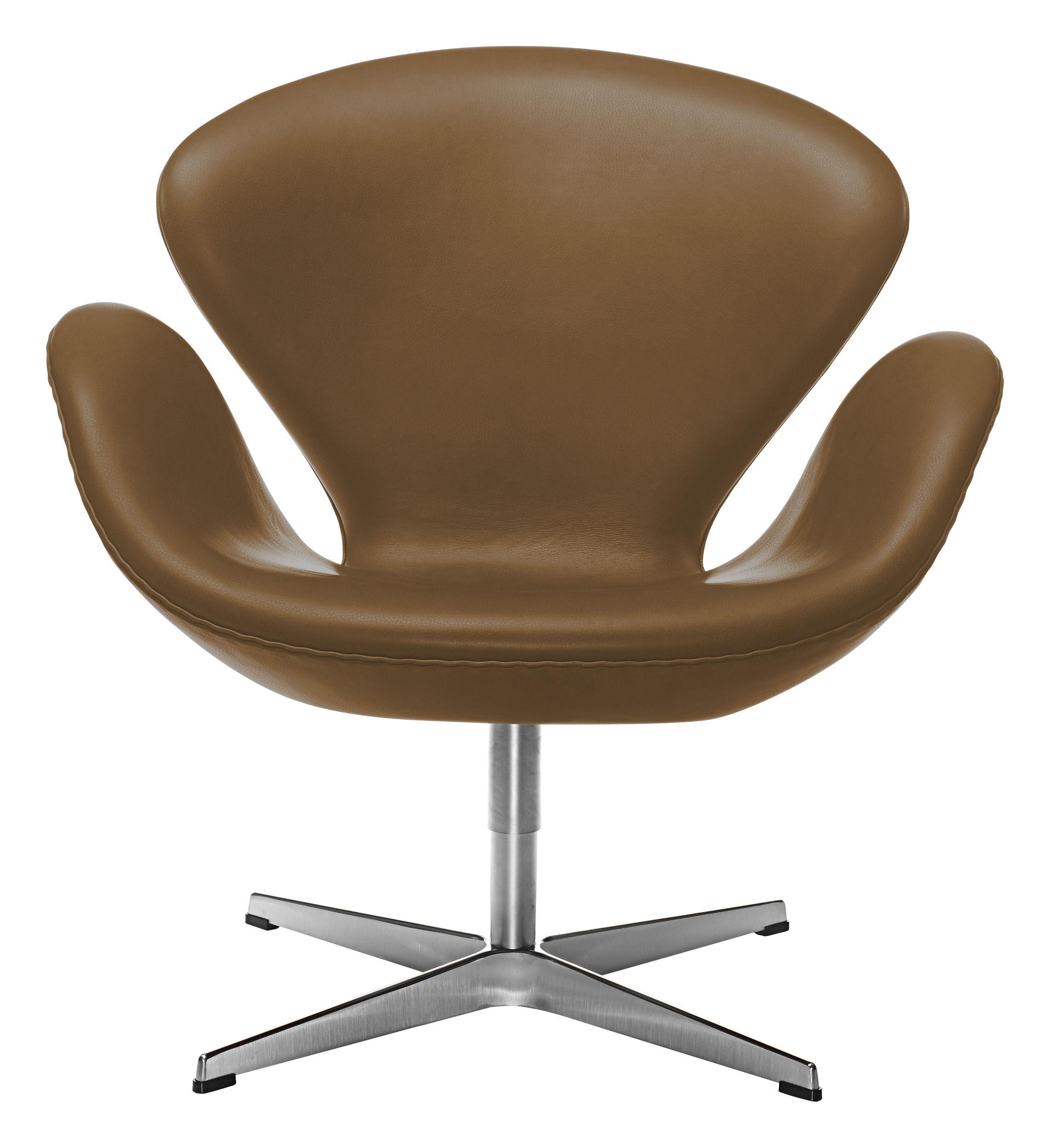 Arredamento - Poltrone design  - Poltrona girevole Swan chair - pelle di Fritz Hansen - Pelle marrone - Alluminio, Espanso, Pelle, Resina