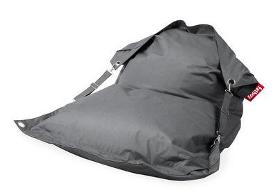 Pouf Buggle-up Outdoor / Avec sangles ajustables - Fatboy L 190 x Larg 140 cm gris en tissu