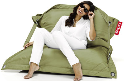 Möbel - Sitzkissen - Buggle-up Sitzkissen für den Außeneinsatz - Fatboy - Olivgrün - Polyesterfaser
