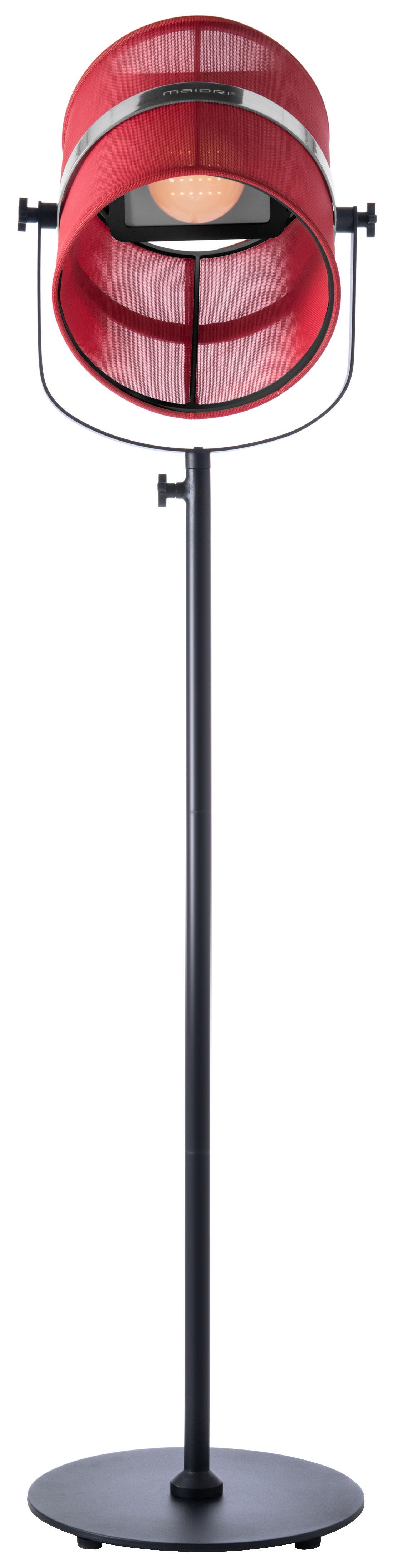 Leuchten - Stehleuchten - La Lampe Paris LED Solarleuchte / kabellos - Maiori - Rot / Ständer schwarz - bemaltes Aluminium, Gewebe