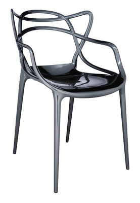 Furniture - Chairs - Masters Stackable armchair - Metallized by Kartell - Titanium - Recycled thermoplastic technopolymer