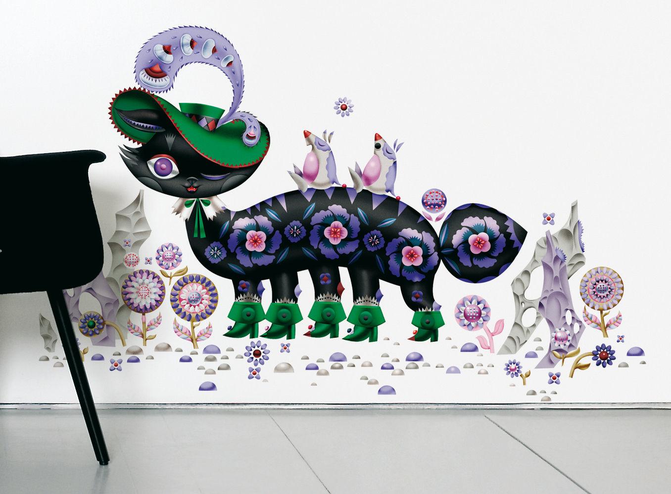 Déco - Stickers, papiers peints & posters - Sticker Chat botté - Domestic - Multicolore - Vinyle