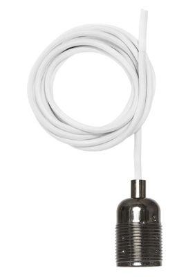 Luminaire - Suspension Frama Kit / Set câble tissu blanc & Douille E27 - Frama  - Chrome noir / Câble blanc - Acier chromé, Tissu