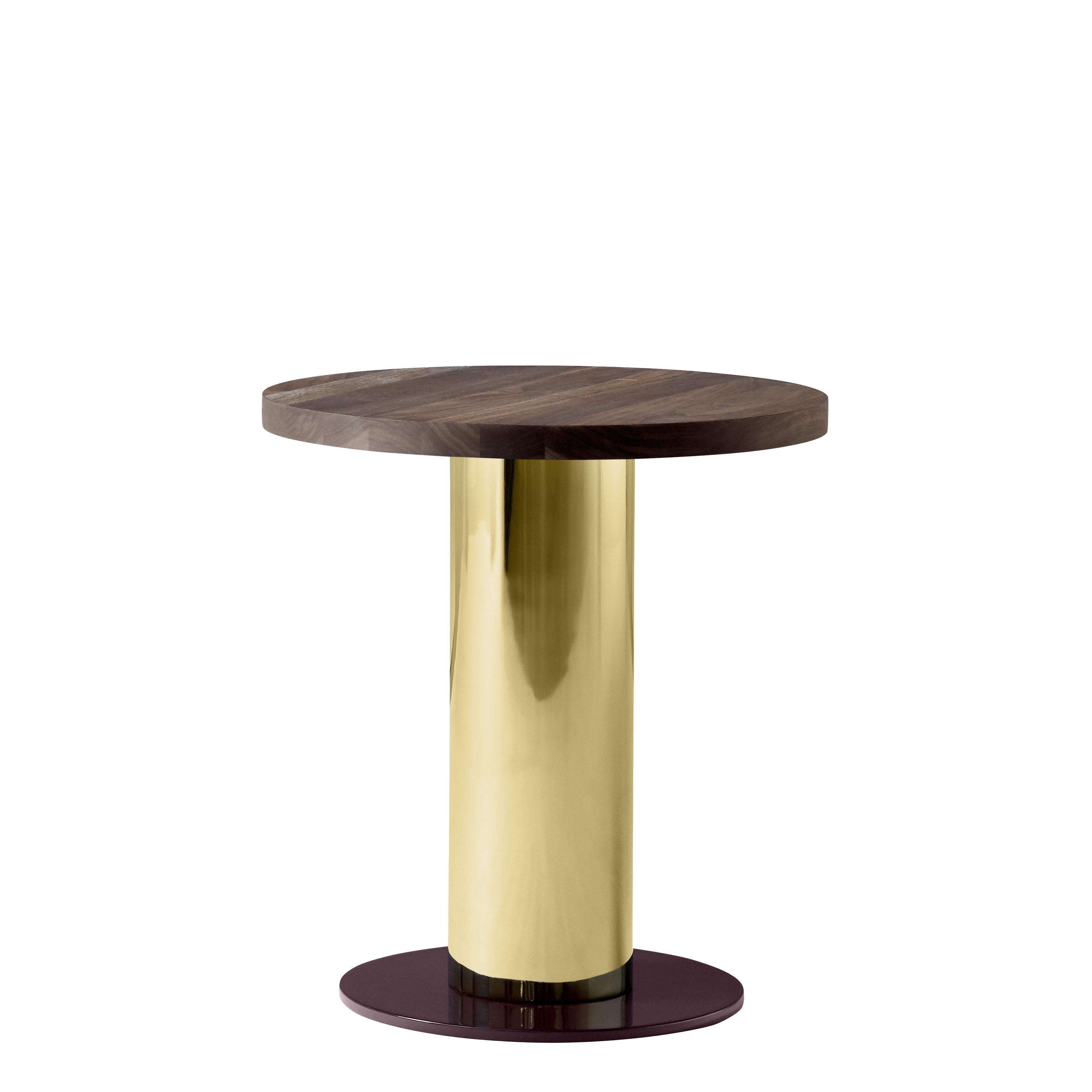 Mobilier - Tables basses - Table basse Mezcla JH19 / Noyer - Ø 42 x H 45 cm - &tradition - Noyer / Or / Bordeaux - Acier, Noyer massif