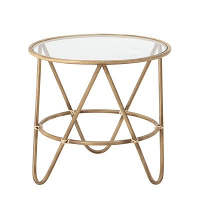 Table basse Verdon / Ø 50 cm - Métal imitation bambou - Bloomingville beige/transparent/bois naturel en métal/verre/bois