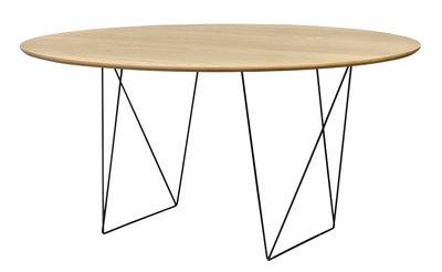 Tendances - Autour du repas - Table ronde Trestle / Ø 150 cm - POP UP HOME - Chêne / Pied noir - Métal laqué, Panneaux d'aggloméré plaqué chêne
