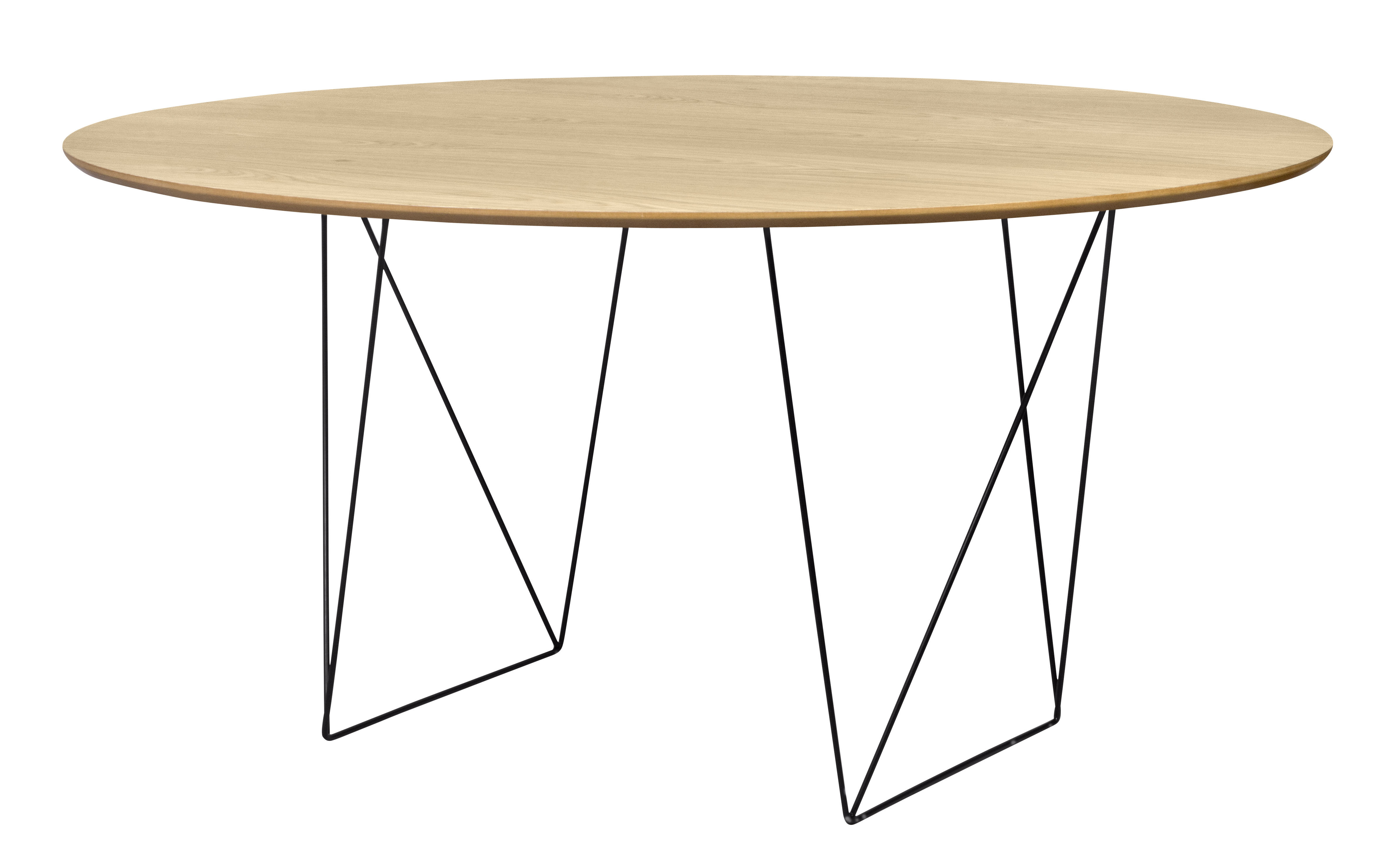 Tendances - À taaable ! - Table ronde Trestle / Ø 150 cm - POP UP HOME - Chêne / Pied noir - Métal laqué, Panneaux d'aggloméré plaqué chêne