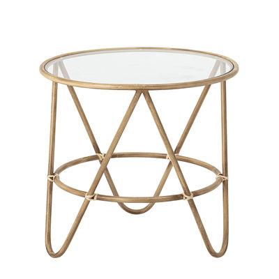 Arredamento - Tavolini  - Tavolino Verdon - / Ø 50 cm - Metallo imitazione Bambù di Bloomingville - naturale / Trasparente - Metallo imitazione bambù, Vetro temprato