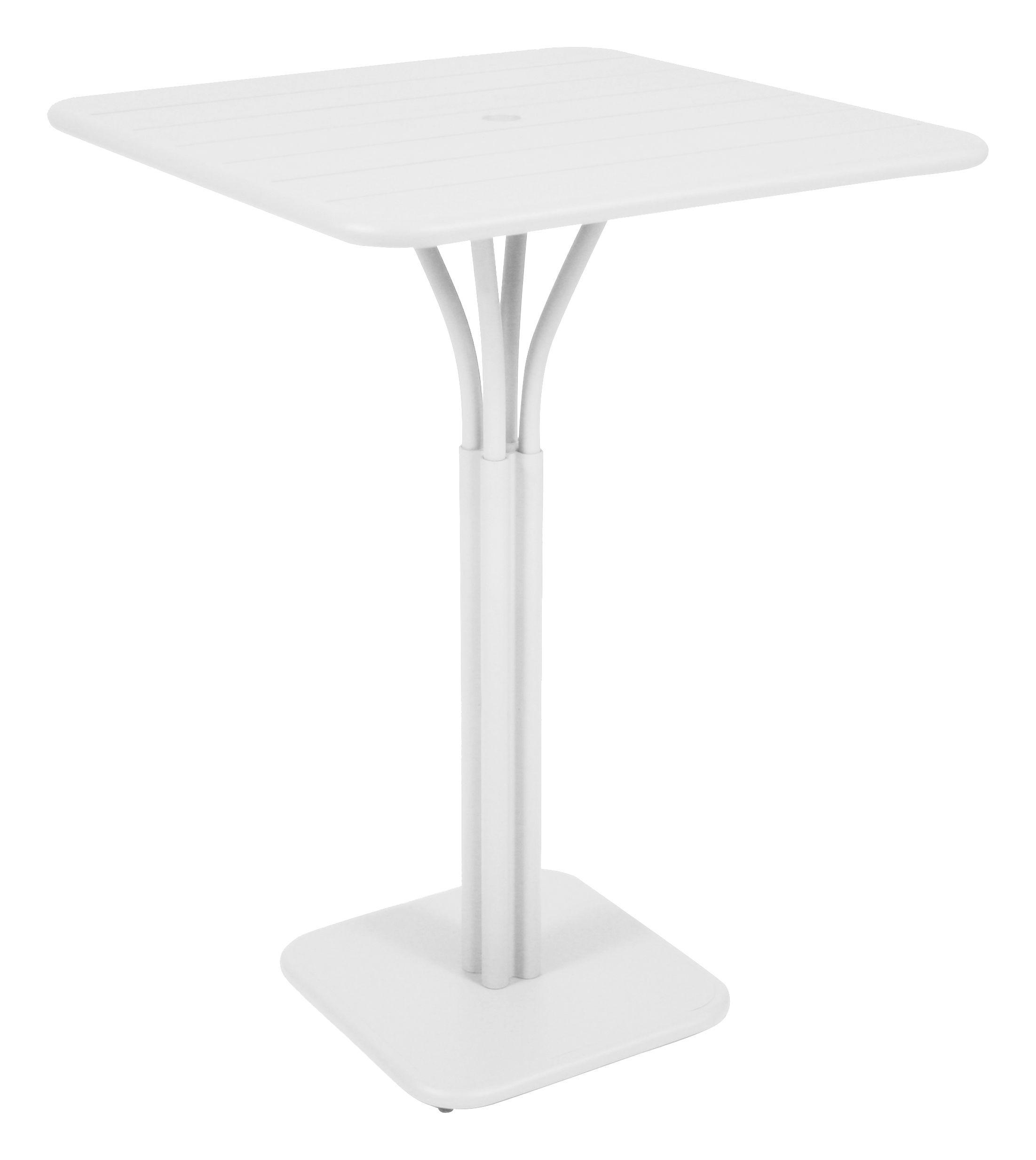 Arredamento - Tavoli alti - Tavolo bar alto Luxembourg - 80 x 80 x A 105 cm di Fermob - Bianco cotone - Alluminio laccato