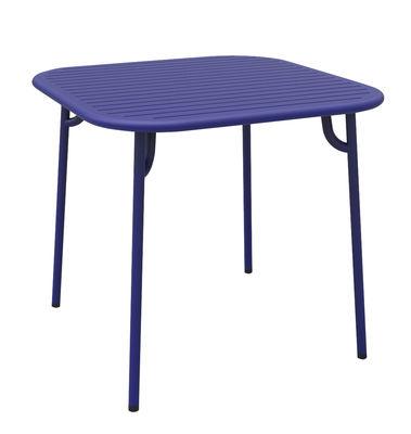 Outdoor - Tavoli  - Tavolo quadrato Week-end - / 85 x 85 cm - Alluminio di Petite Friture - Blu - Alluminio termolaccato epossidico