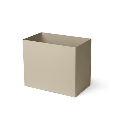 Arredamento - Raccoglitori - Vaso - / Per portavasi Plant Box Large - Prof. 34 cm di Ferm Living - Beige Cashmere - Acciaio laccato epossidico