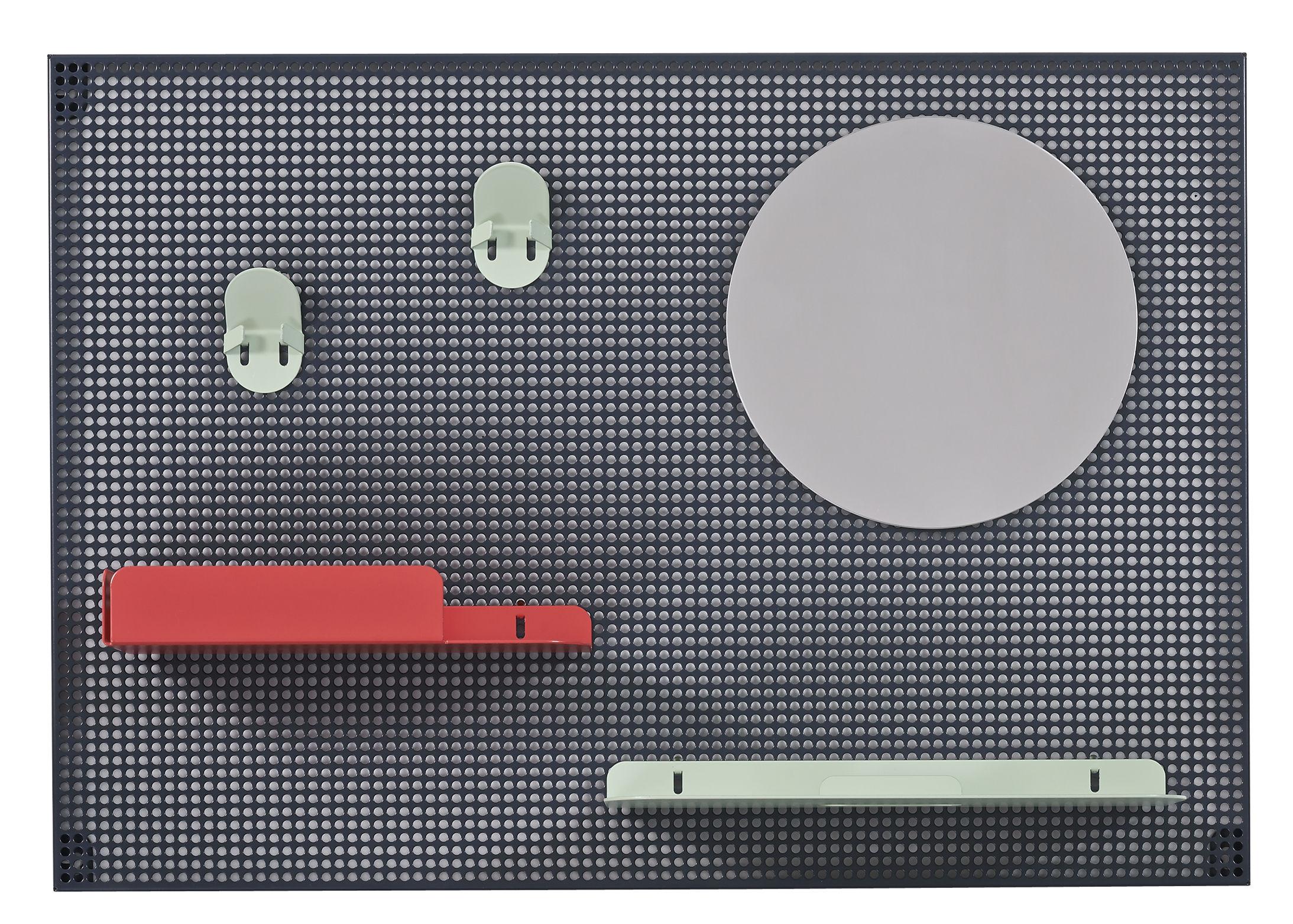 Möbel - Aufbewahrungsmöbel - Alfred Wandablage / 65 x 45 cm - Hartô - Dunkelgrau / erdbeerrot & pastellgrün - Acier perforé, lackiertes Metall