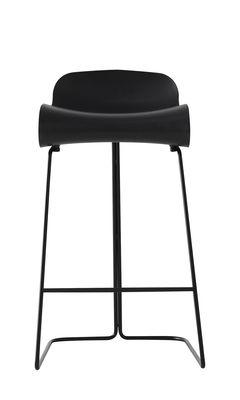 Furniture - Bar Stools - BCN Bar stool - H 66 cm by Kristalia - Black / black leg - PBT plastic, Varnished steel