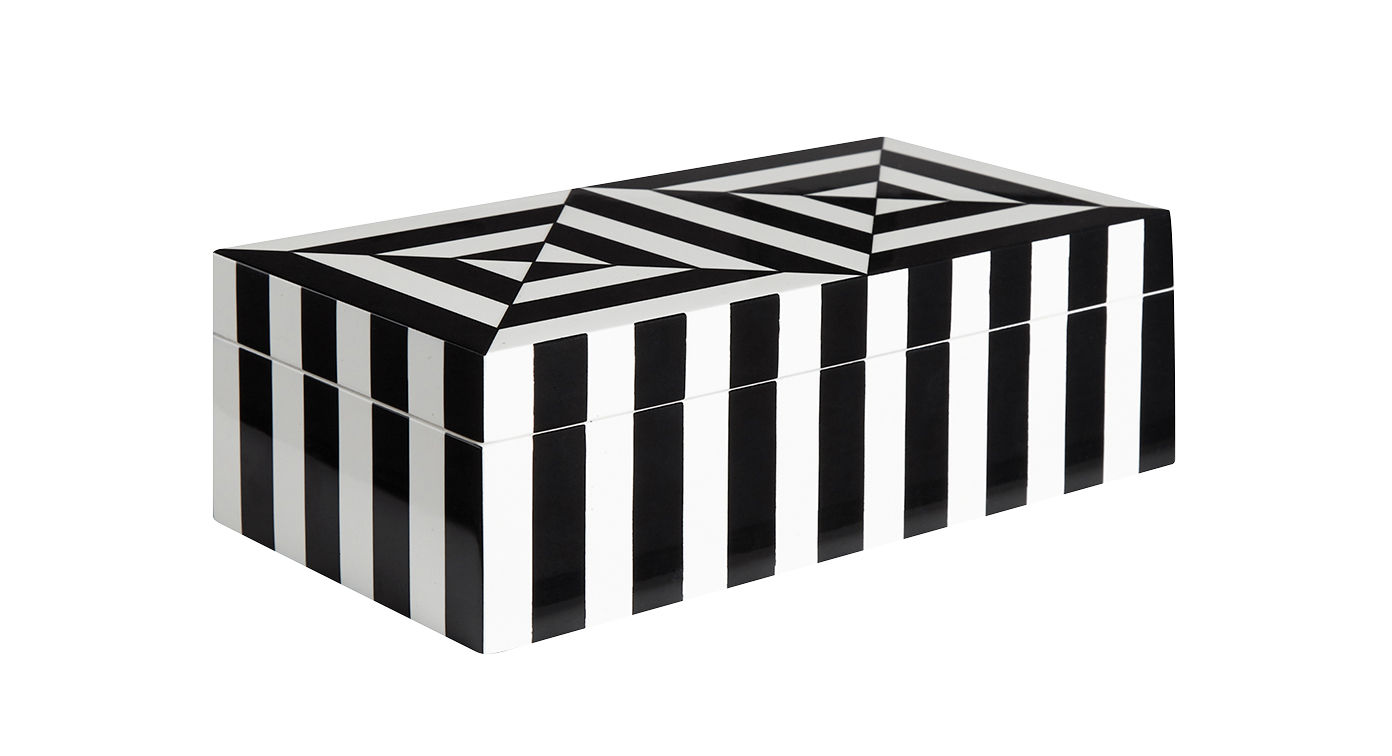 Decoration - Decorative Boxes - Op Art Small Box - / Lacquer - 20 x 10 cm by Jonathan Adler - Small / Black & white - Lacquered wood, Velvet