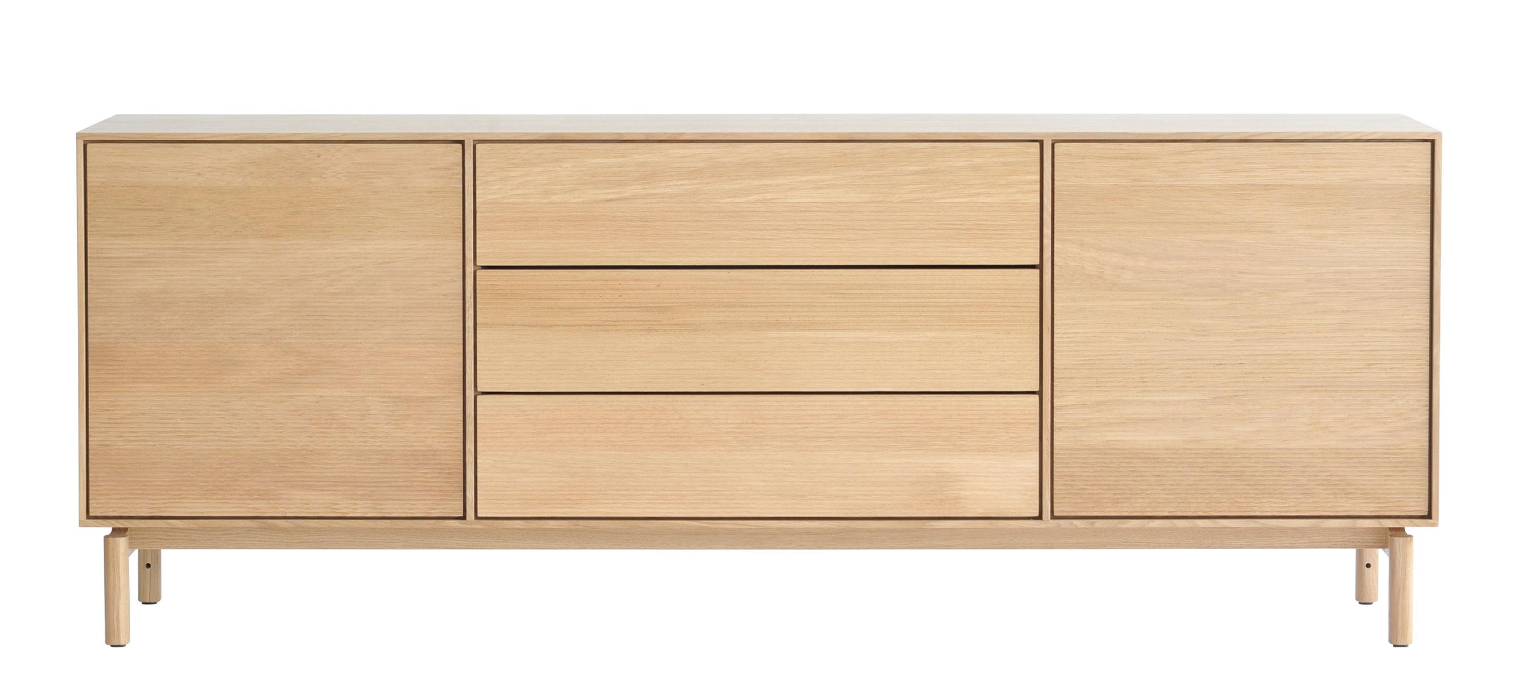 Mobilier - Commodes, buffets & armoires - Buffet Modulo Large / L 182 cm - 2 portes + 3 tiroirs - Ercol - Chêne - Chêne massif
