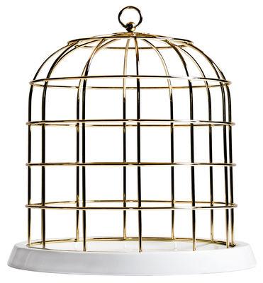 Arts de la table - Plateaux et plats de service - Centre de table Twitable / Plateau - Porcelaine & métal - Seletti - Blanc / Cage dorée - Métal, Porcelaine