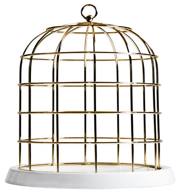 Tableware - Trays - Twitable Centrepiece - Porcelain & metal -  Ø 34 cm by Seletti - White / Golden cage - China, Metal