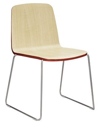 Mobilier - Chaises, fauteuils de salle à manger - Chaise empilable Just / Bois - Normann Copenhagen - Frêne avec contour rouge / Pied chromé - Acier, Frêne laqué