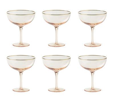 Coupe à champagne Decò / Set de 6 - H 12,4 cm - Bitossi Home doré,rose poudré en verre