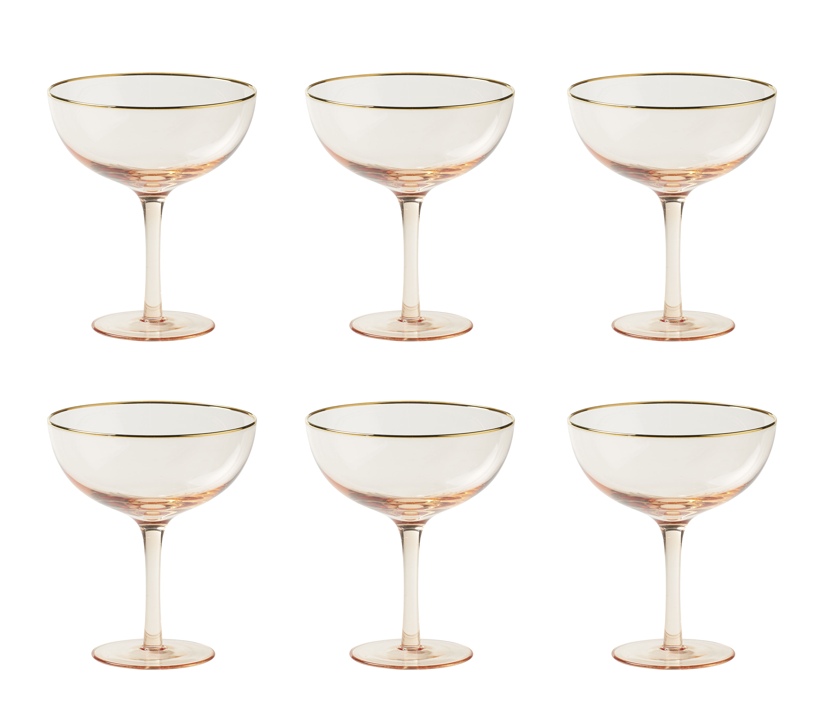 Arts de la table - Verres  - Coupe à champagne Decò / Set de 6 - H 12,4 cm - Bitossi Home - Rose poudré - Verre soufflé