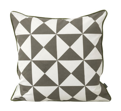Interni - Cuscini  - Cuscino Large Geometry - / cotone - 50 x 50 cm di Ferm Living - Grigio & Bianco - Cotone