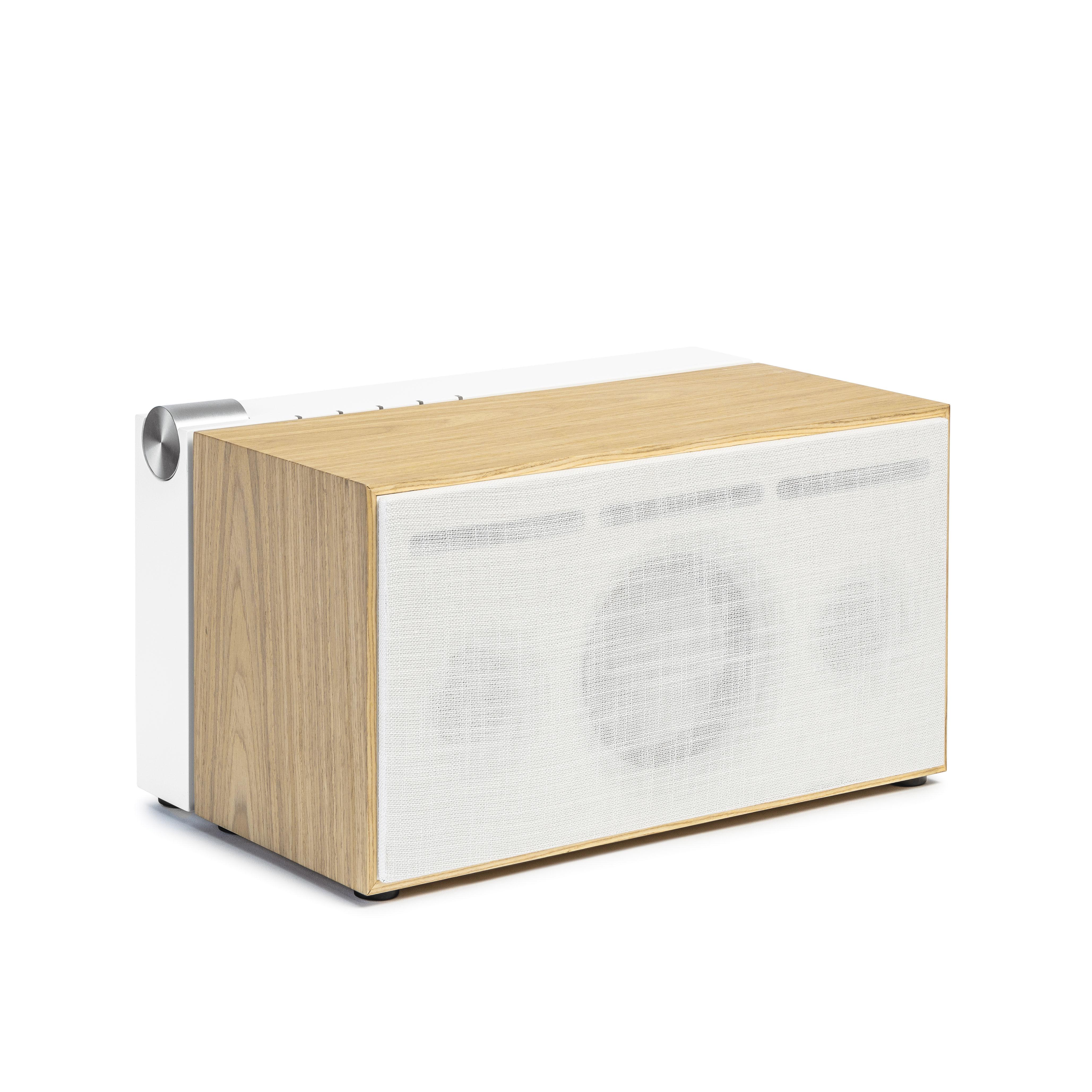 Accessoires - Enceintes audio & son - Enceinte Bluetooth PR 01 / Avec technologie Active Pression Reflex - La Boîte Concept - Blanc & chêne - Aluminium, Chêne massif, Tissu