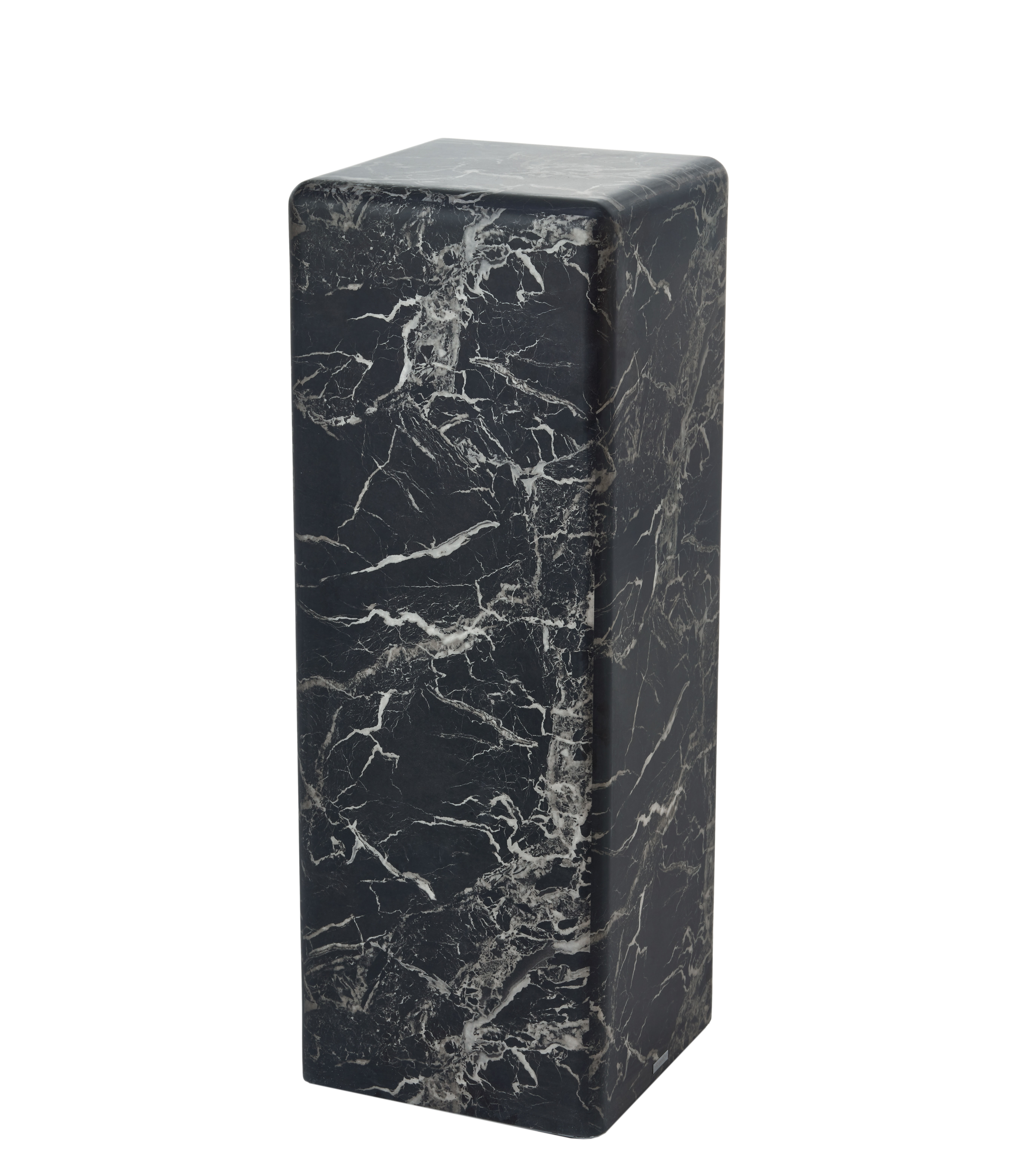 Furniture - Coffee Tables - Marble look Large End table - / H 91 cm – Marble effect by Pols Potten - Black - MDF, Resin